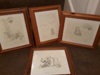 Four large pencil prints .Winnie the pooh .Pine frames .13×15inches.