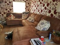 Large immaculate corner sofa, chaise lounge one end, recliner the other, tan colour, suede