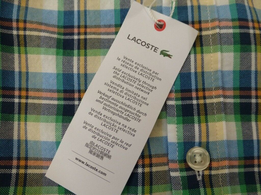 7d500ff4846d Lacoste Shirt Oxford Check Blue Multi Cotton Short Sleeve Size 40 (Brand New  £85)