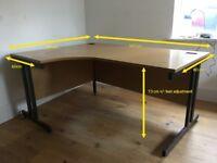 Corner Desk - wooden with metal legs
