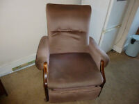 Reclining chair, dusky pink, bit scruffy but very comfy!
