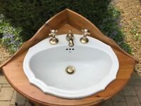 pine corner unit with Vernon Tutbury white ceramic basin