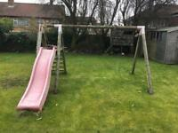Wooden swing and slide