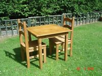 Small / Petite Square Wooden Table with Two Matching Chairs. Can Deliver.