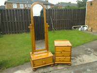 Ducal Solid pine cheval mirror and 3 drawer chest