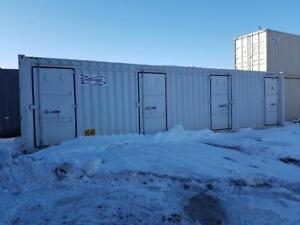 40' Shipping Container with 4 man doors in the side - The Container Guy