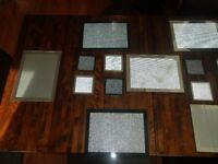 8 glass place mats and 8 glass coasters