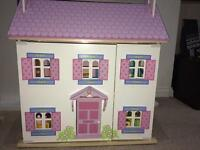 Dolls house with furniture- high quality