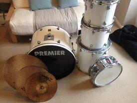 """Premier APK 5 piece white kit (14, 12, 13, 16, 22"""") 3000 series + 3x Zildjian cymbals + hardware"""
