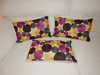 3 UNUSUAL OBLONG CUSHIONS EXCELLENT CONDITION