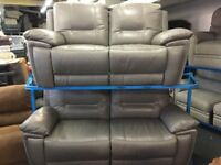 NEW / EX DISPLAY Grey Leather LazyBoy Hedgemoor Recliner 3 + 2 Seater Sofas