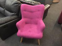 Brand New Designer Pink Fabric Armchair