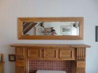 Large Beveled Mirror in Oak Frame