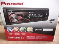 Pioneer DEH-4800BT CD Radio, with MP3 and Bluetooth.
