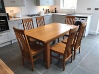 Solid Oak 6 seater Dining Table & Chairs