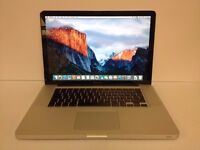 Macbook Pro 15 inch Apple laptop with SSD hard drive on latest EL Capitain 10.11 software