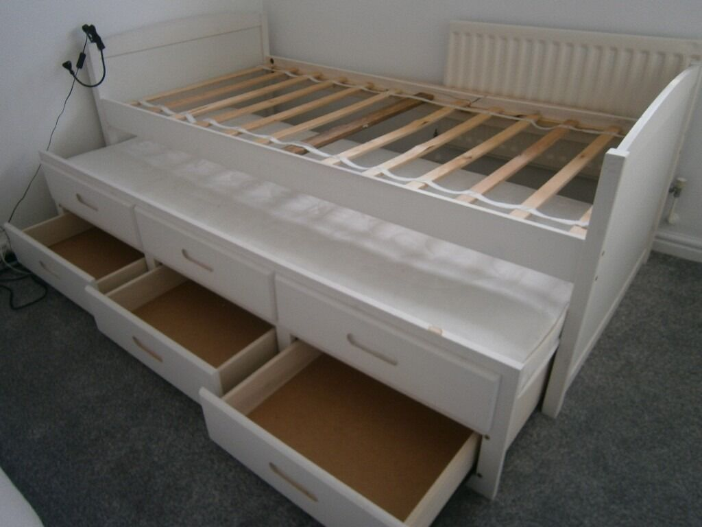 White single bed frame with pull out guest bed including mattress and 3 drawers in bradley Bed with mattress