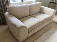 Pair of cream / cornflower sofas