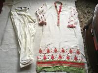 Indian ladies suit 2 pieces beige cotton size 14 used good condition £5