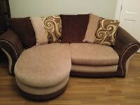 Brown and cream 3 seater sofa and cuddler from DFS. Great condition!