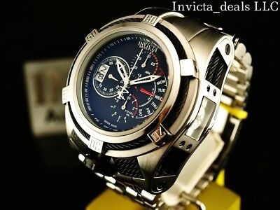 Invicta Reserve 52mm Bolt Zeus Tria Swiss Chronograph Stainless Steel Watch-RARE