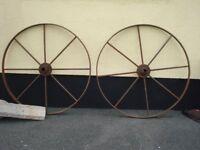 Pair of Vintage Metal Wagon Wheels