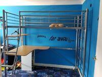High sleeper with mattress and desk