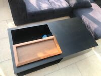 Coffee Table with Drawer and Removable Tray top in Black & Walnut