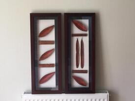NEXT set of 2 Dark wood framed Bamboo inspired wall Art/Pictures