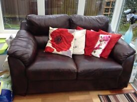 2 Seater brown leather sofa, does have some marks on it but overall pretty good