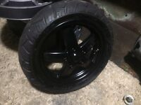 Piaggio zip rims gloss black tyres very good thread as new