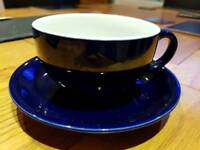 Set of 6 cappuccino cups and saucers, dark blue