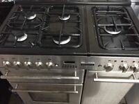 Silver edition 5 burners dual fuel gas range cooker for sale