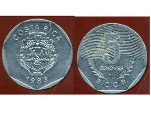COSTA RICA 5 colones 1983 ( bis ) - France - Région: Amérique du Sud Métal: Nickel Pays: costa rica Année de frappe: 1983 - France