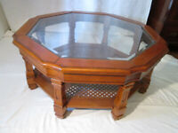 Vintage Large Octagonal Glass-Topped Coffee Table with Bergere Under Shelf