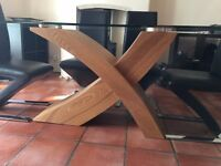 Xanti Clear Glass X Oak Base Dining Table with Demi Z-shaped Dining Chairs
