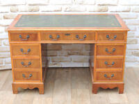 Light Pedestal desk with green top (Delivery)