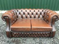 Classic Chesterfield Cigar Brown Leather 2 Seater Sofa.