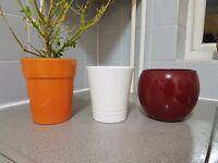 3 Plant Pots (1x Red, 1 Orange, 1x White)