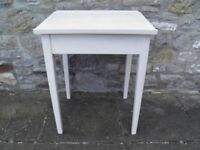 VINTAGE SCHOOL DESK SOLID PINE WITH INK WELL HOLE AND INSIDE GRAFITTI