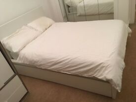 IKEA Brusali Bed frame with 4 storage boxes & HOVAG mattress