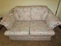 2 seater sofa ad arm chair. pale grey/blue pattern. Good condition. Sold separately or together.