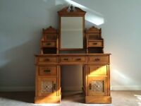 Dressing Table with tilt mirror vintage Victorian antique solid yew wood