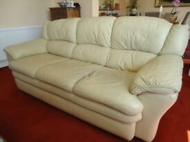 Cream leather 3-seater settee for sale