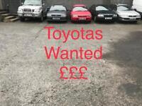 Toyotas wanted , hiace landcruiser carina corolla avensis
