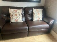 brown leather sofa real