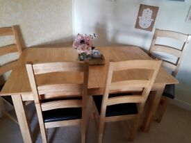 Extendable dining table and 4 chairs-solid wood good quality