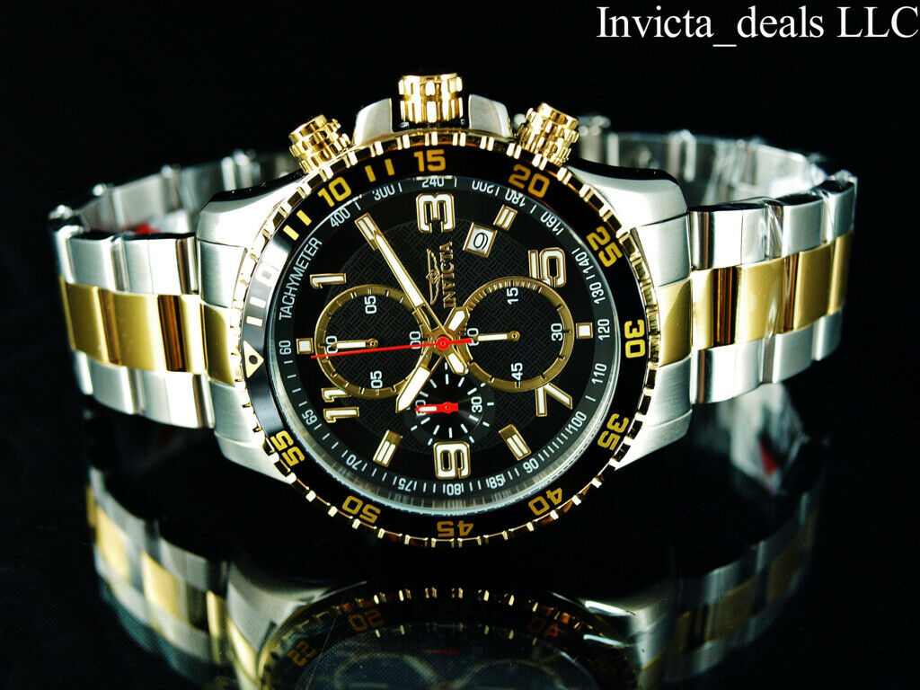 NEW Invicta Mens 45mm PILOT Specialty Chrono Black Dial 18K Gold 2Tone SS Watch