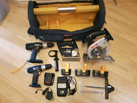 Ryobi Power Tools and Tool Tote (Circular Saw, Drills, Jigsaw & accessories)