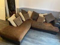 Brown and cream Corner Sofa & 2 Seater